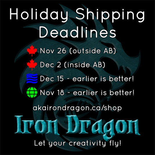 An image listing the holiday shipping deadlines for Iron Dragon yarn.